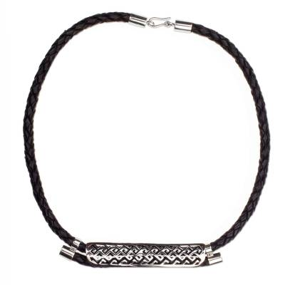 Leather and Sterling Silver Pendant Necklace from Mexico