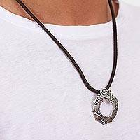 Leather pendant necklace, 'Beautiful Quetzalcoatl' - Leather and .925 Silver Pendant Necklace from Mexico