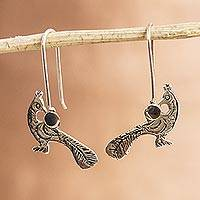 Sterling silver drop earrings, 'Fine Pheasant' - Womens Drop Sterling Silver Earrings with Bird from Mexico