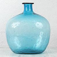 Blown glass bottle, 'Mega Azure Transparency' - Large Decorative Azure Blue Bottle in Hand Blown Glass