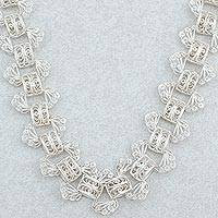 Sterling silver filigree necklace,
