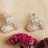 Sterling silver filigree drop earrings,