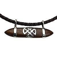 Wood and leather pendant necklace, 'Horizontal Cruz de Malta' - Wood Leather and Silver Pendant Necklace from Mexico