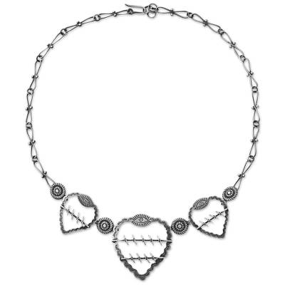 Mexican Hearts Artisan Crafted Sterling Silver Necklace