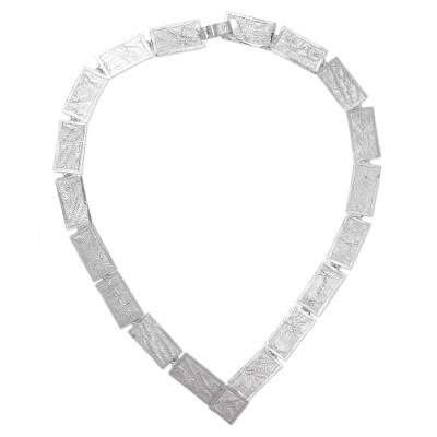 Sterling silver link necklace, 'Windows of Texture' - Contemporary Handcrafted Textured Sterling Silver Necklace