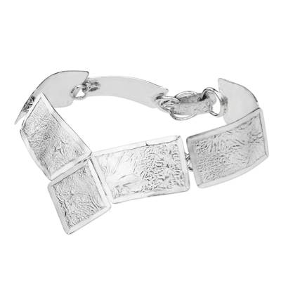 Contemporary Handcrafted Textured Sterling Silver Bracelet