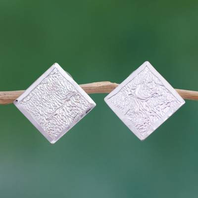 Sterling silver button earrings, 'Windows of Texture' - Sterling Silver Square Shaped Button Earrings from Mexico