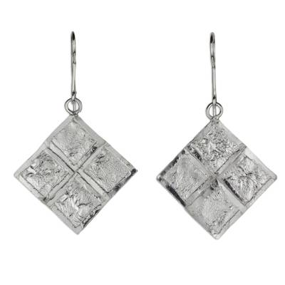 Sterling silver dangle earrings, 'Windows of Texture' - Contemporary Handcrafted Textured Sterling Silver Earrings