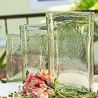 Blown glass vases, 'Clear Ice' (set of 3) - 3 Glass Vases Hand Blown Clear Glass Set Hacienda Style