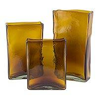 Blown glass vases, 'Tamarind Ice' (set of 3) - Set of 3 Hacienda Style Amber Blown Glass Vases