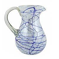 Blown glass pitcher, 'Blue Swirling Web' - Hand Blown 81 oz Glass Pitcher in Swirling Blue on White