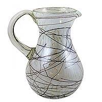 Blown glass pitcher, 'Brown Swirling Web' - Hand Blown 81 oz Glass Pitcher Brown Swirls on White