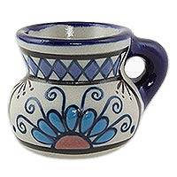 Ceramic mugs, 'Dawn Flower' (set of 4) - Set of Four Handcrafted Ceramic Mugs from Mexico