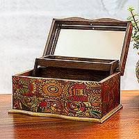 Decoupage jewelry box, 'Huichol Enchantment' - Huichol Theme Decoupage on Pinewood Jewelry Box with 3 Decks