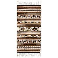 Zapotec wool rug, 'Eyes of the Earth' (2.5x5) - Handwoven Earthtone Zapotec Area Rug (2.5 x 5)