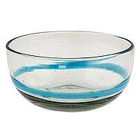 Blown glass bowls, 'Aquamarine Band' (pair) - Artisan Crafted Blown Glass Pair of 15 oz Blue Stripe Bowls