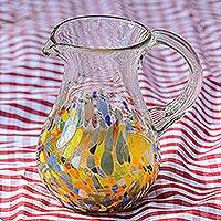 Blown glass pitcher, 'Confetti Festival'