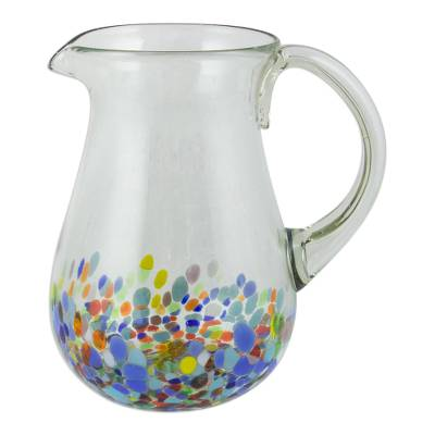 Blown glass pitcher, 'Confetti Festival' - Artisan Crafted Colorful Mexican Hand Blown Pitcher (87 oz)