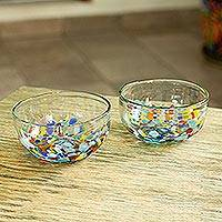 Blown glass bowls, 'Confetti Festival' (pair)