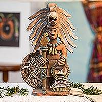 Ceramic sculpture, 'Aztec Calendar Eagle Warrior' - Ceramic Eagle Warrior Sculpture with Aztec Calendar