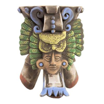 Ceramic incense holder, 'Owl Omen' - Mexican Archaeology Inspired Ceramic Owl Incense Holder