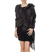 Cotton rebozo shawl, 'Night of Glamour' - Handwoven Black Cotton Rebozo Shawl with Colorful Motifs