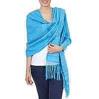 Cotton rebozo shawl, 'Glorious Aquamarine' - Blue and Aqua Handwoven Cotton Rebozo Shawl