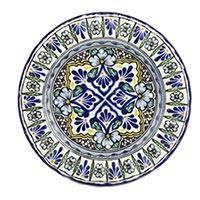 Ceramic dinner plates, 'Floral Duchess' (pair) - 2 Floral Talavera Style Plates Handmade Set in Mexico