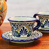 Ceramic cups and saucers, 'Floral Duchess' (pair) - 2 Floral Talavera Style Ceramic Cups and Saucers