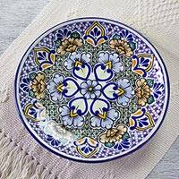 Talavera ceramic dinner plates, 'Sunshine Kaleidoscope' (pair) - Mexican Blue Floral Talavera Ceramic Dinner Plates (Pair)