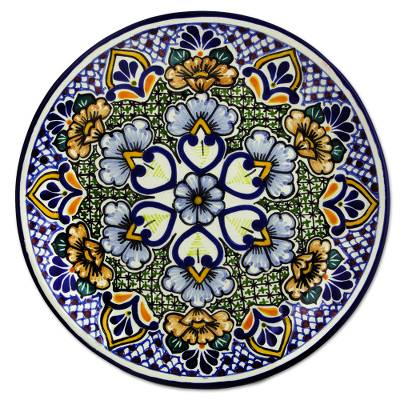 Ceramic dinner plates, 'Sunshine Kaleidoscope' (pair) - Mexican Blue Floral Talavera Style Dinner Plates (Pair)