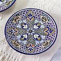 Ceramic dessert plates, 'Sunshine Kaleidoscope' (pair) (Mexico)