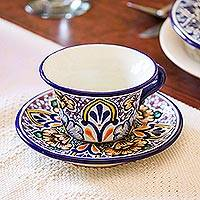 Ceramic cups and saucers, 'Sunshine Kaleidoscope' (pair) - 2 Mexico Talavera Style Ceramic Cups Saucers Floral