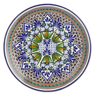 Mexican Talavera Ceramic Plate Green Floral Kaleidoscope, 'Garden Kaleidoscope'