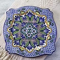 Ceramic plate, 'Talavera Kaleidoscope' - Artisan Crafted 11 Inch Blue Talavera Style Ceramic Plate