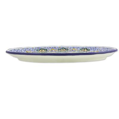 Ceramic platter, 'Floral Cosmos' - Artisan Crafted Blue Talavera Style Ceramic Oval Platter
