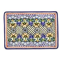 Ceramic serving plate, 'Blossoming Symmetry' (13 inch) - Rectangular 13 Inch Floral Ceramic Multicolor Plate