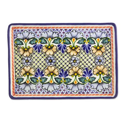Ceramic serving plate, Blossoming Symmetry (13 inch)