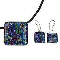 Art glass jewelry set, 'Blue Huichol' - Art Glass Jewelry Set Blue Huichol Necklace and Earrings
