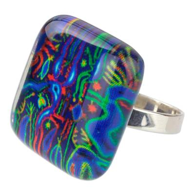 925 Silver Cocktail Ring with Art Glass Blue Huichol Images
