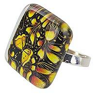 Art glass cocktail ring, 'Michoacan Wonder' - Hand Crafted Art Glass Silver Ring with Monarch Butterflies