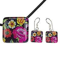 Art glass flower jewelry set, 'Oaxaca Bouquet' - Oaxaca Flowers Art Glass Necklace and Earrings Jewelry Set