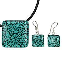 Art glass jewelry set, 'Oaxaca Wonder' - Green Oaxacan Birds and Flowers on Art Glass Jewelry Set