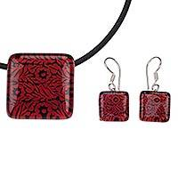 Art glass floral jewelry set, 'Oaxaca Dreams' - Red Birds and Flowers on Art Glass Jewelry Set from Mexico