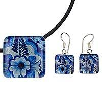 Art glass floral jewelry set, 'Talavera Fantasy' - Necklace and Earrings Talavera Style Art Glass Jewelry Set