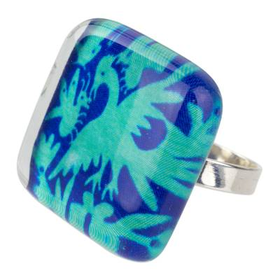 Art Glass Jewelry Birds and Butterlies on 925 Silver Ring