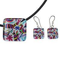 Art glass jewelry set, 'Otomi Fantasy' - Otomi Multicolor Animals on Art Glass Jewelry Set