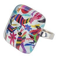 Art glass cocktail ring, 'Otomi Fantasy' - Fair Trade Modern multicoloured Ring in Glass on 925 Sterlin