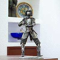 Upcycled metal sculpture, 'Rustic Samurai III' - Handcrafted Recycled Metal Samurai Sword Warrior Sculpture