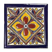 Ceramic tiles, 'Unity Flower' (set of 10) - Hand Painted Mexican Talavera Style Ceramic Tiles Set of 10